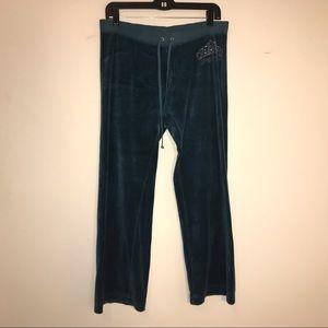 Juicy Couture blue velvet track pants